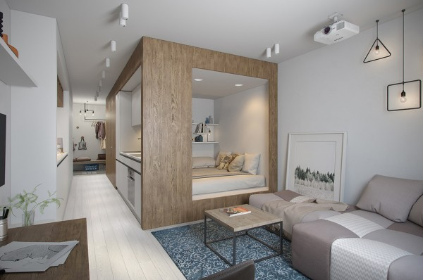 Square meters of floor space it was designed with a young woman in mind who desired the freedom of a studio layout with the privacy of a divided home