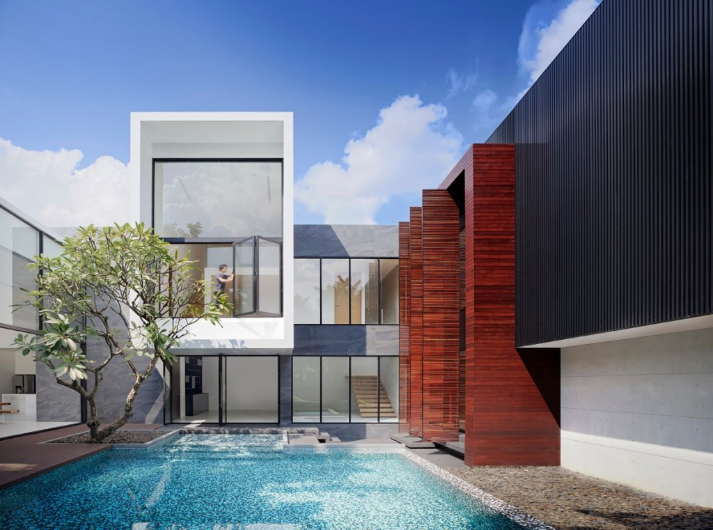 contemporary modern home designs.  Spectacular Modern House With Courtyard Swimming Pool