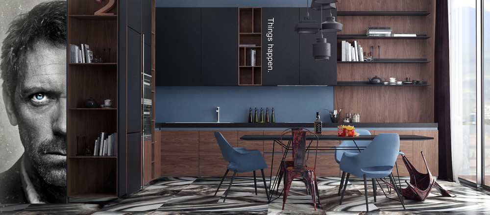Dr house inspired kitchen 4 charming blue accent apartments with compact layouts