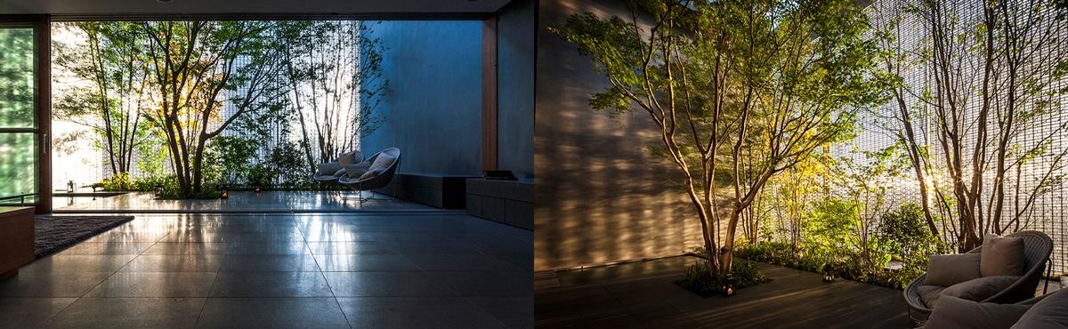 An incredible interior courtyard shielded by optical glass for Casa stile zen