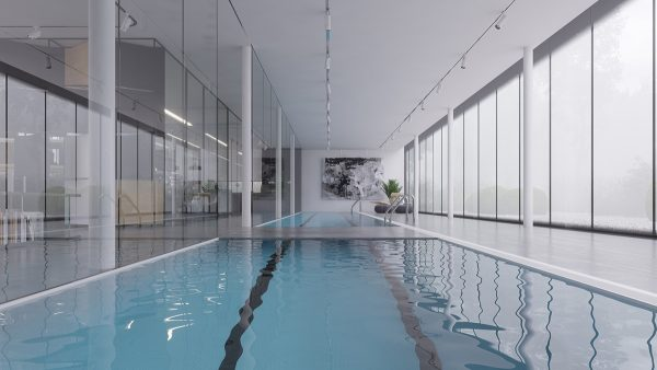 A bridge over the pool makes it easy to cross over without obstructing the lane while swimming laps