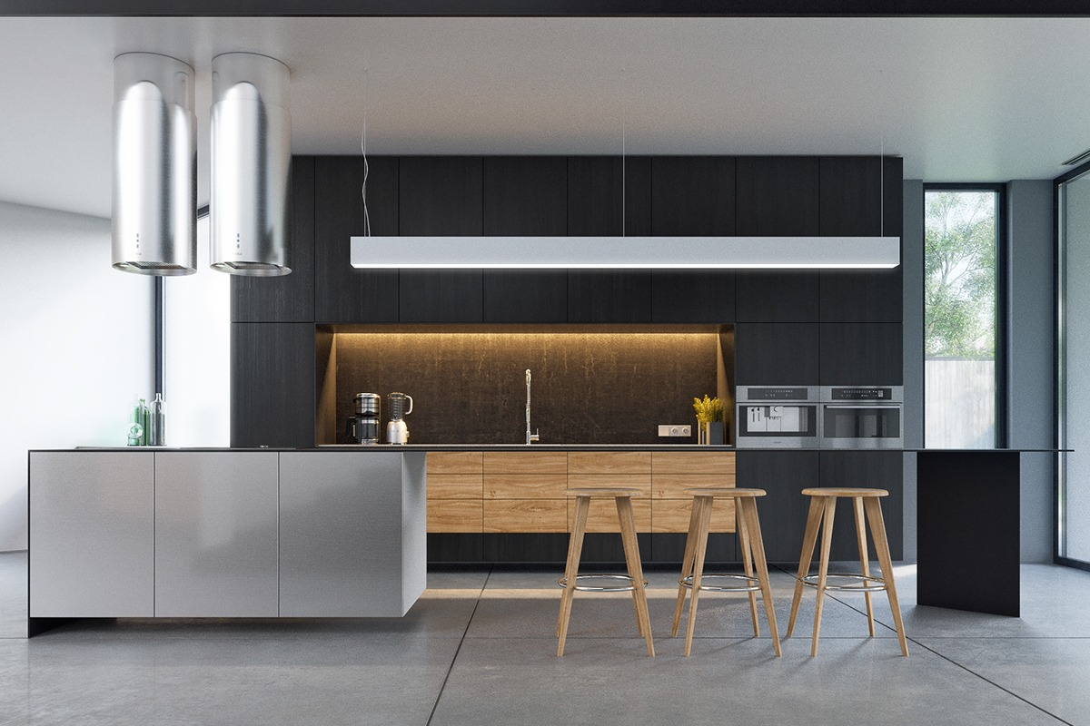 Black And White Kitchen Timber Floor
