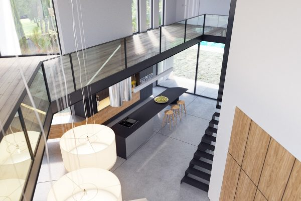 Actually the mezzanine level does a fantastic job of putting residents and guests in visual contact with any part of the main floor where others might be