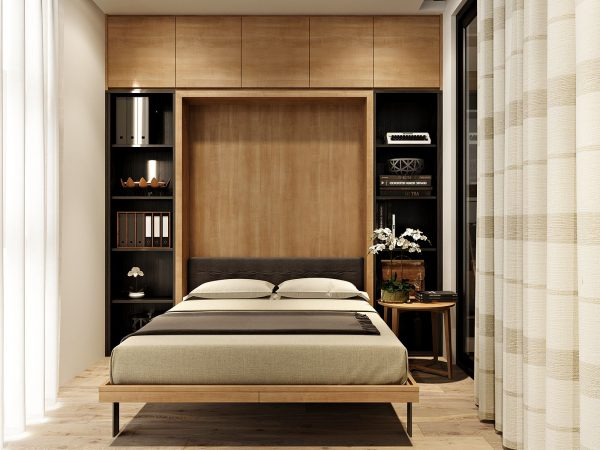 A murphy bed is a great solution to a small room and can still be done in a way that looks great while still being functional