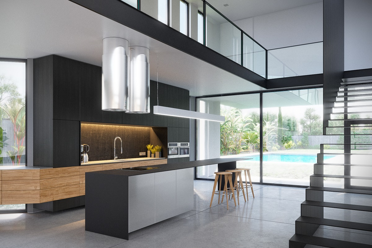 3 modern villas that embrace indoor outdoor living - Black and wood kitchen ...