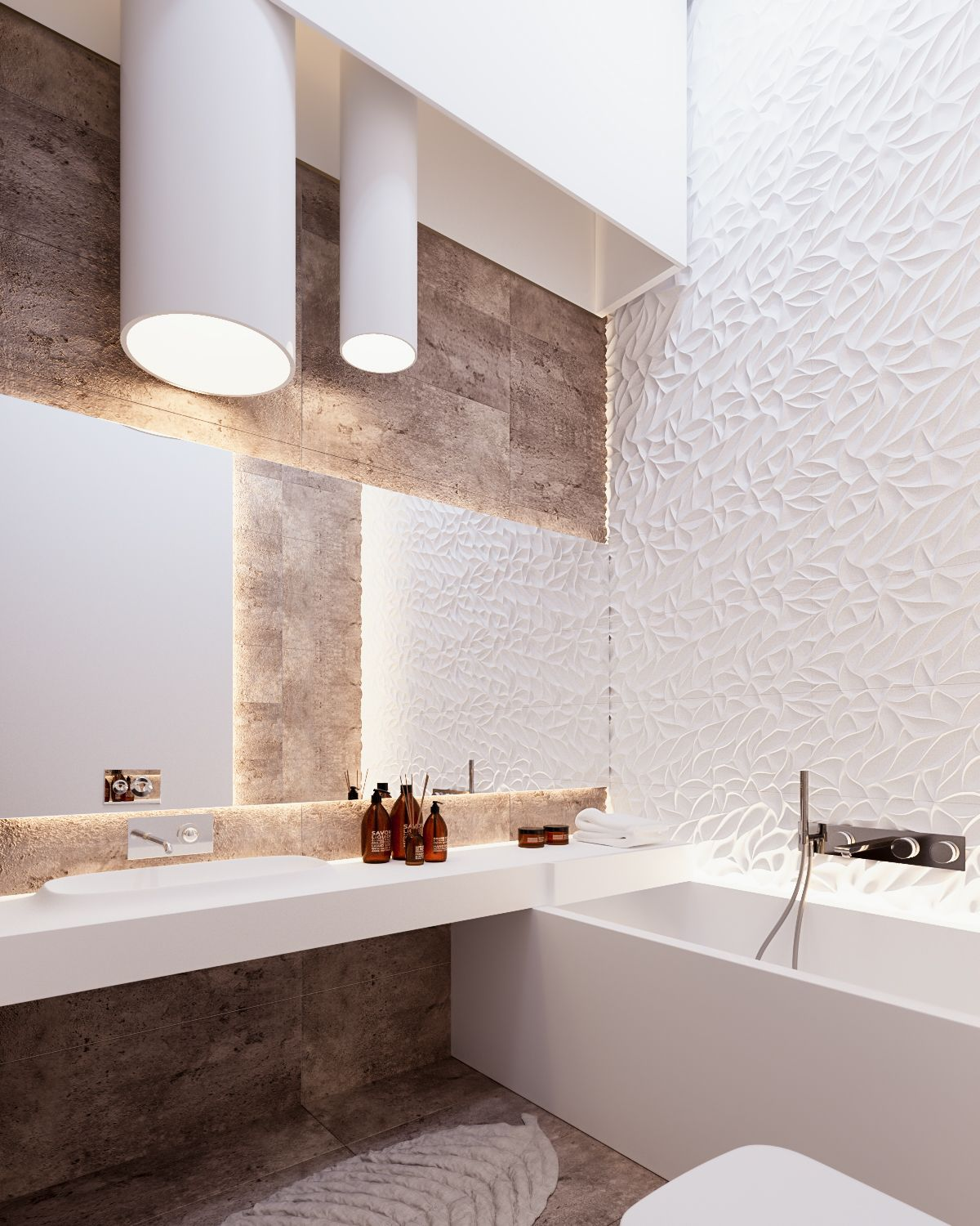 Bathroom Wall Texture Ideas: A Cleverly Decorated Family Home In Ukraine.... : Interior