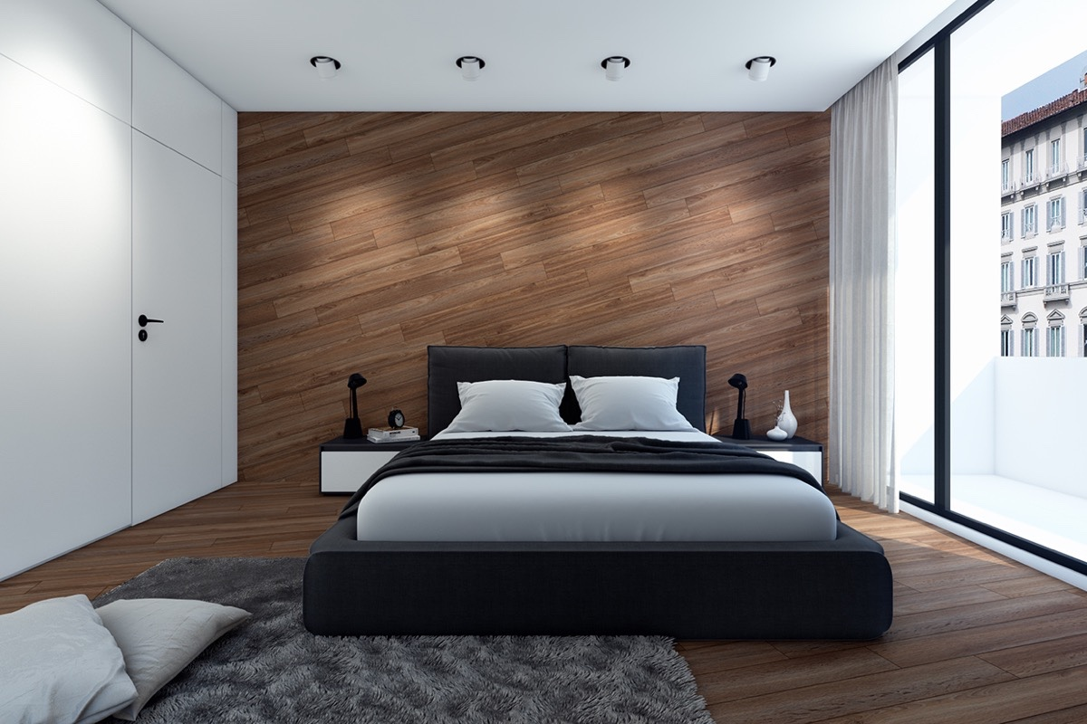 Diagonal Wood Wall Panels Interior Design Ideas