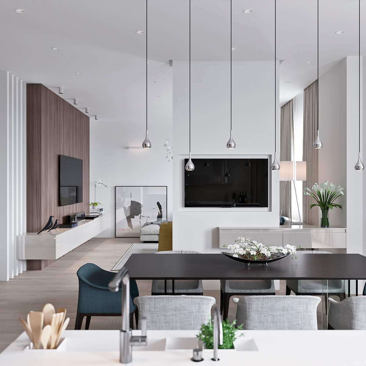 Apartment Layout: 3 Light Interiors With Creative Pops Of Color