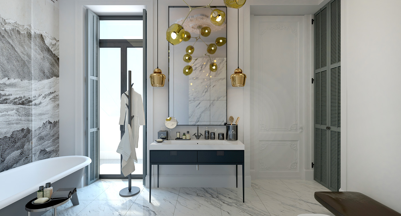Subtle Art Deco Influences In Bathroom Interior Design Ideas