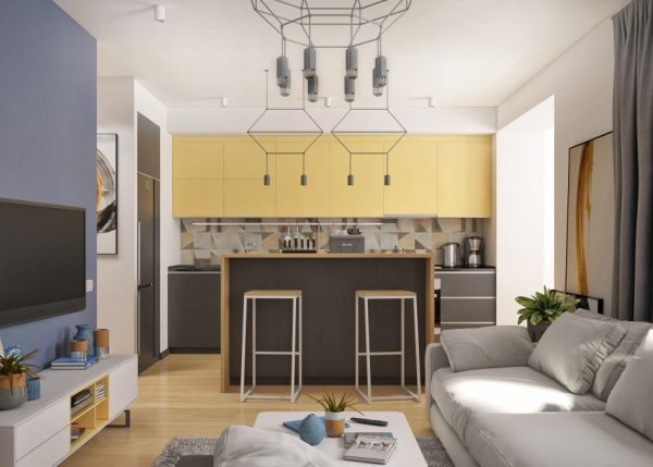 Through the kitchen and living spaces patterned details are turned up a notch light