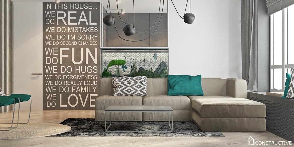 Cute modern home aquarium tasteful indoor garden inspiration in two open layout homes