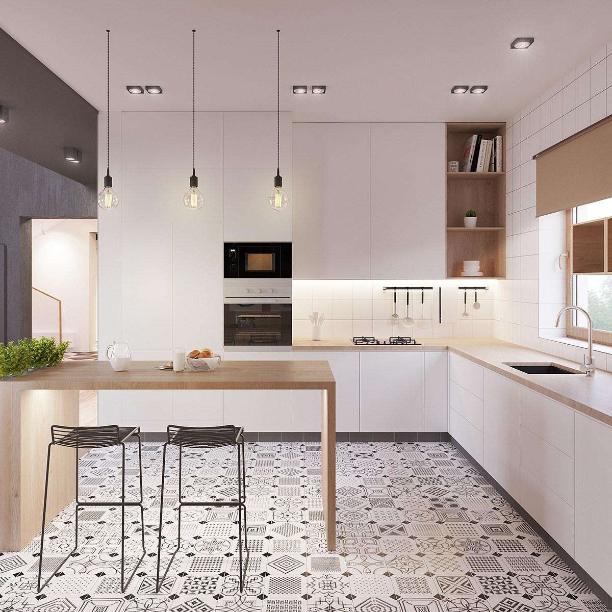 Eclectic Scandinavian Kitchen Floor Tiles