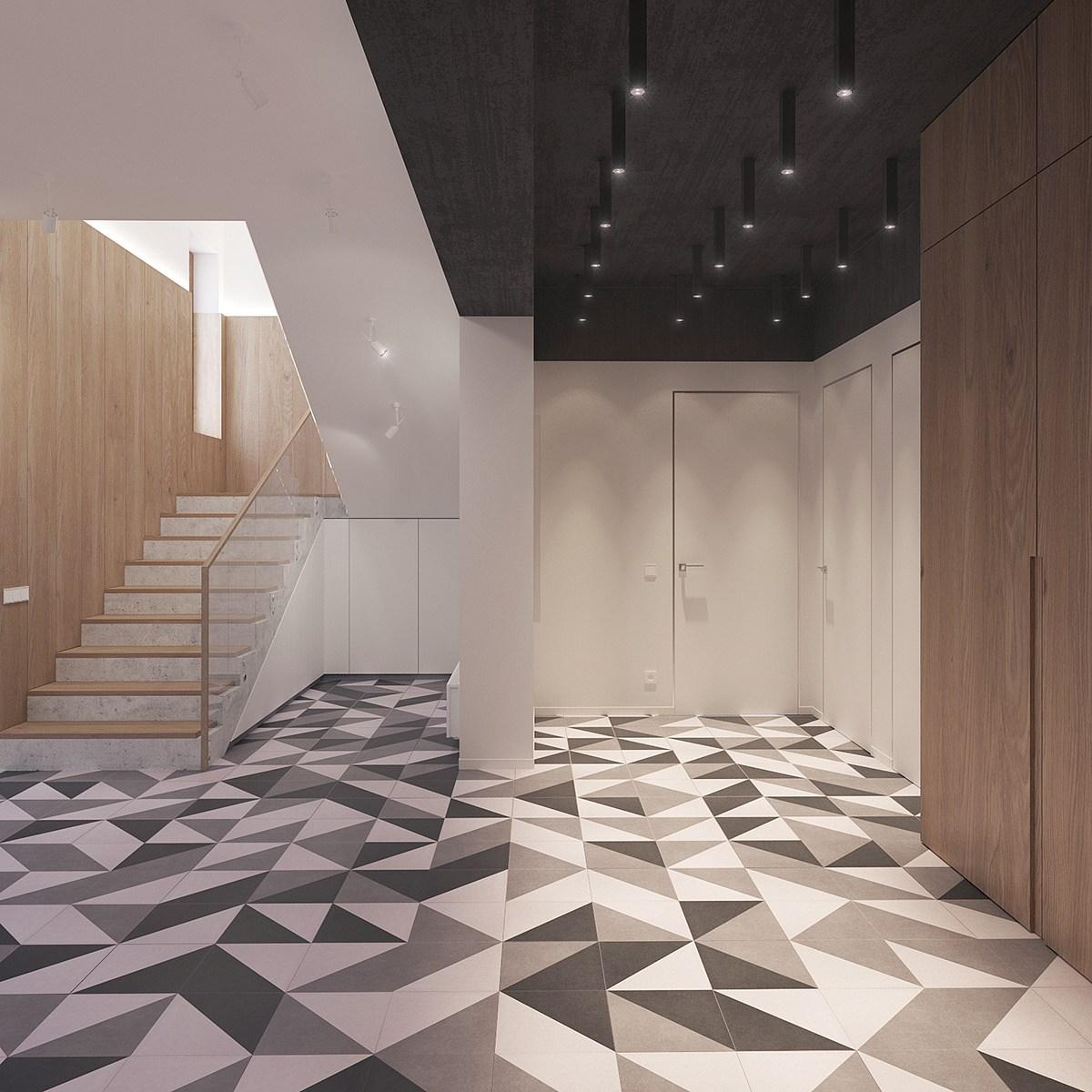 Geometric Floor Tiles In Greyscale