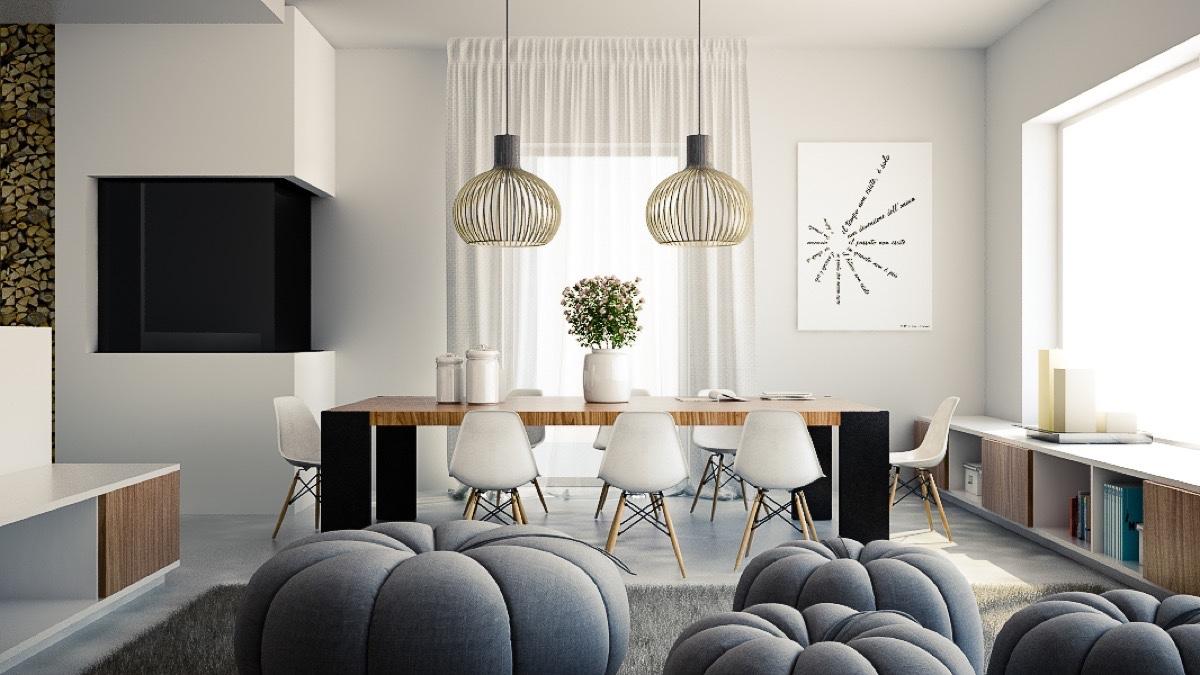 Simple Modern Dining Room Lighting Interior Design Ideas