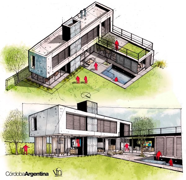 Architectural flow surrealist home illustrations by neyra russell anthony exteriors