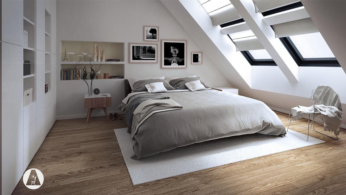 Interior Designer Camera Da Letto.All White Attic Bedroom Slanted Windows With White Covers