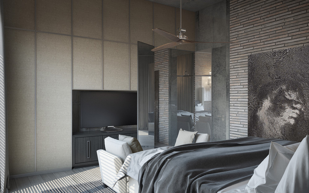 Black and white painting bedroom small loveseat 3 concrete lofts with wide open floor plans
