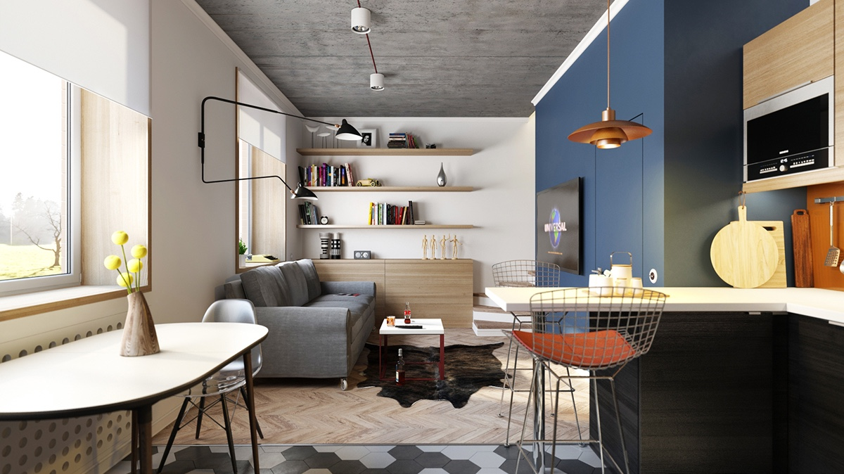 three cozy colorful modern apartments. Black Bedroom Furniture Sets. Home Design Ideas
