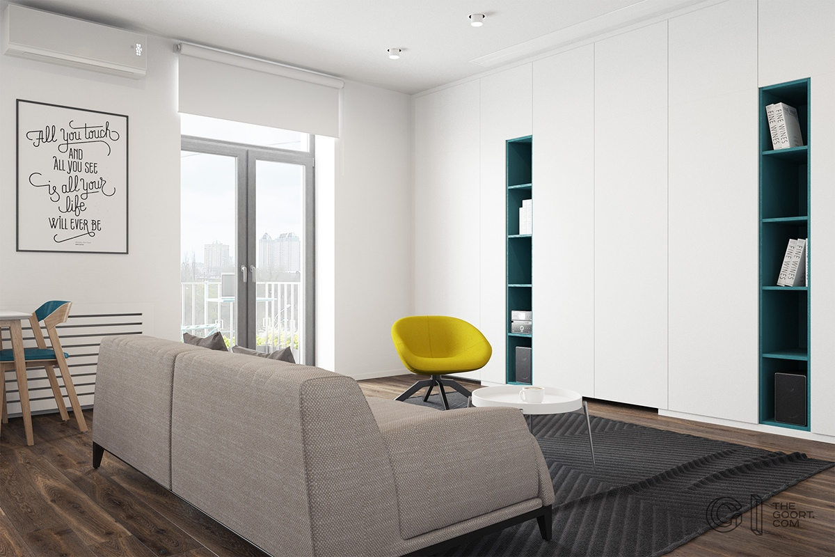 3 modern style apartments under 50 square meters includes floor plans. Black Bedroom Furniture Sets. Home Design Ideas