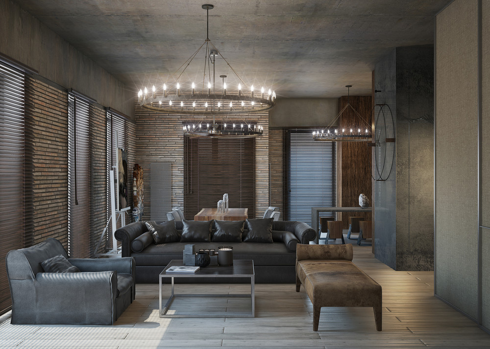 Moody loft black leather couch round lights 3 concrete lofts with wide open floor plans