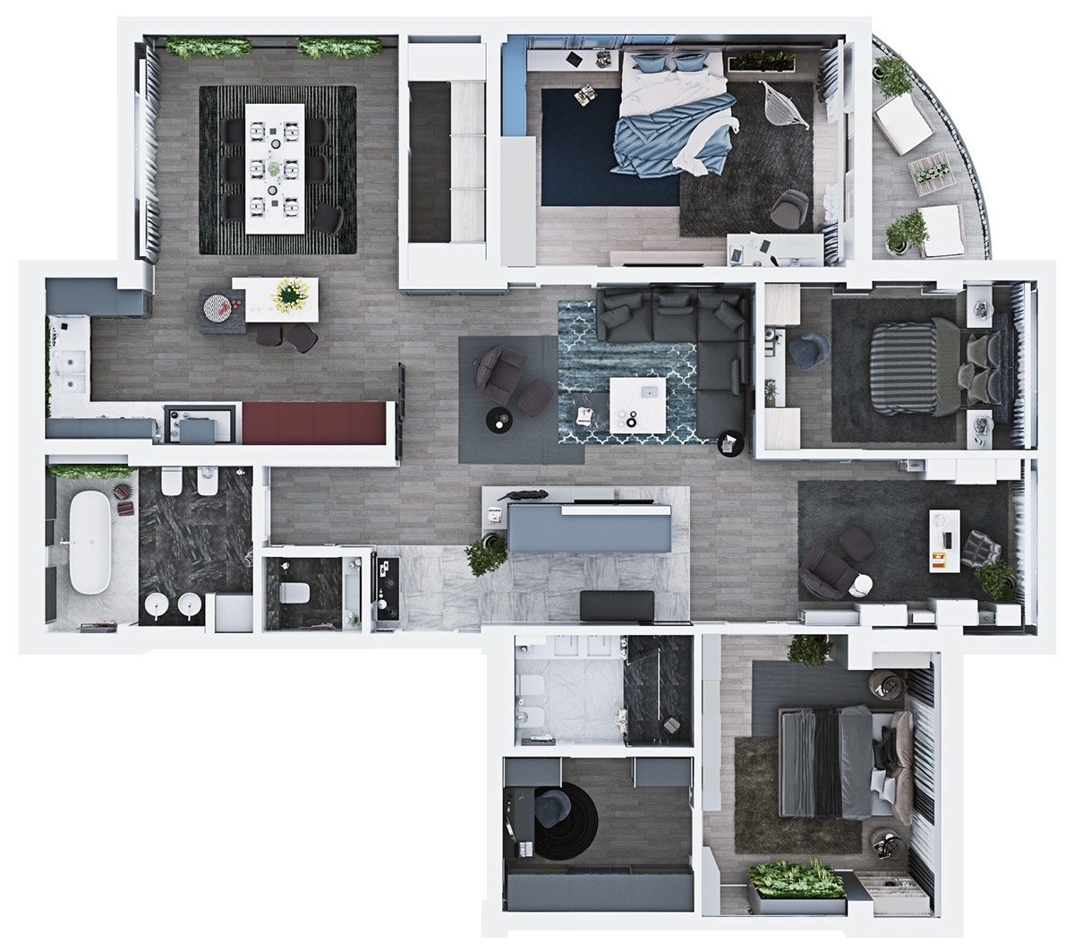 Floor-plan-stylish-and-contemporary-home-under-1200sqm  Bedroom House Plans Under X Feet on
