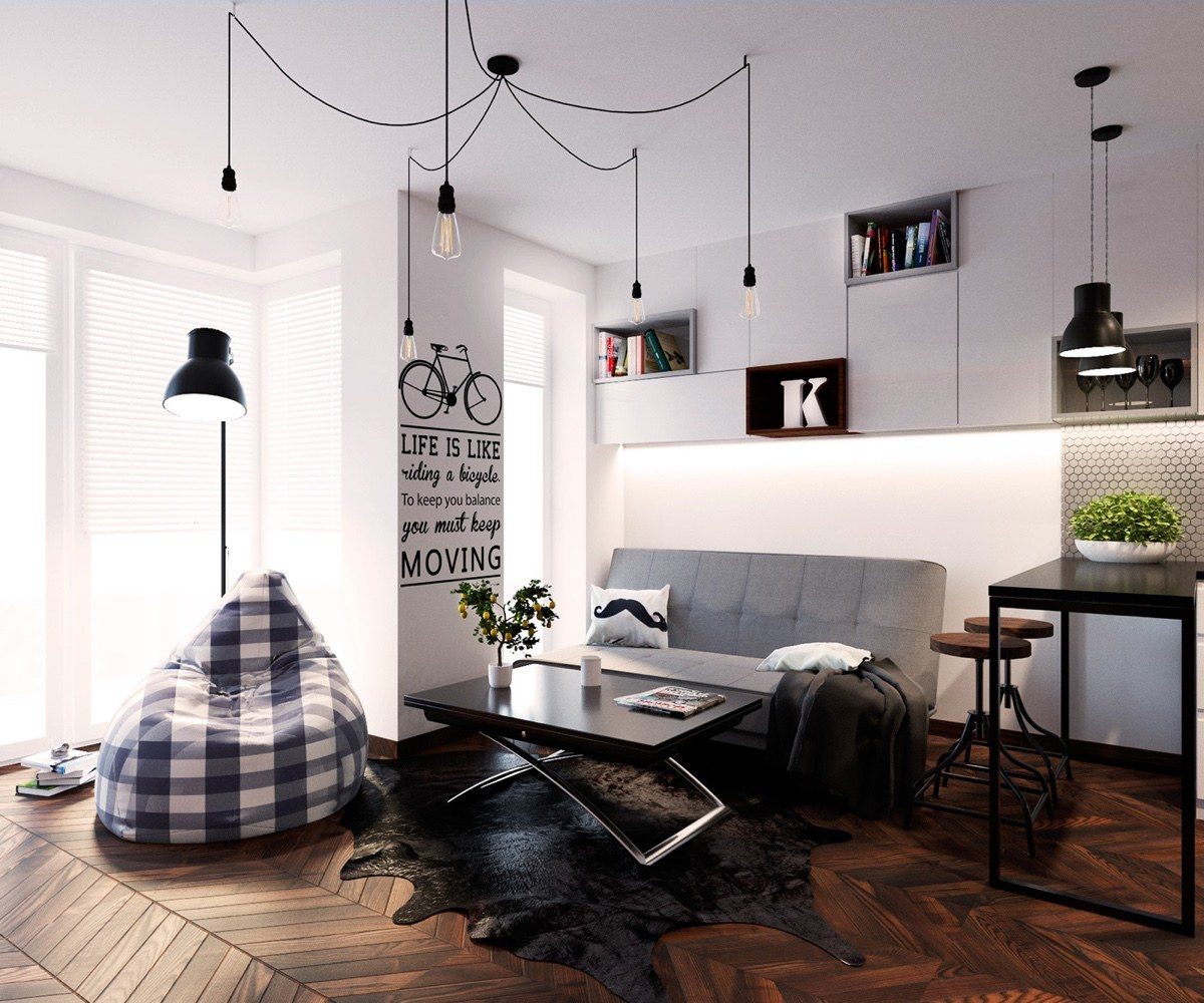 5 simple and achievable scandinavian apartment designs - White walls living room ...