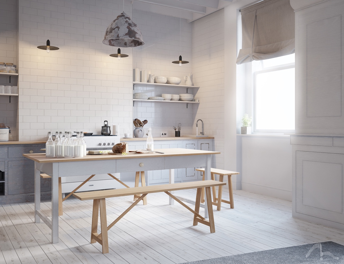 White And Light Wood Kitchen Table