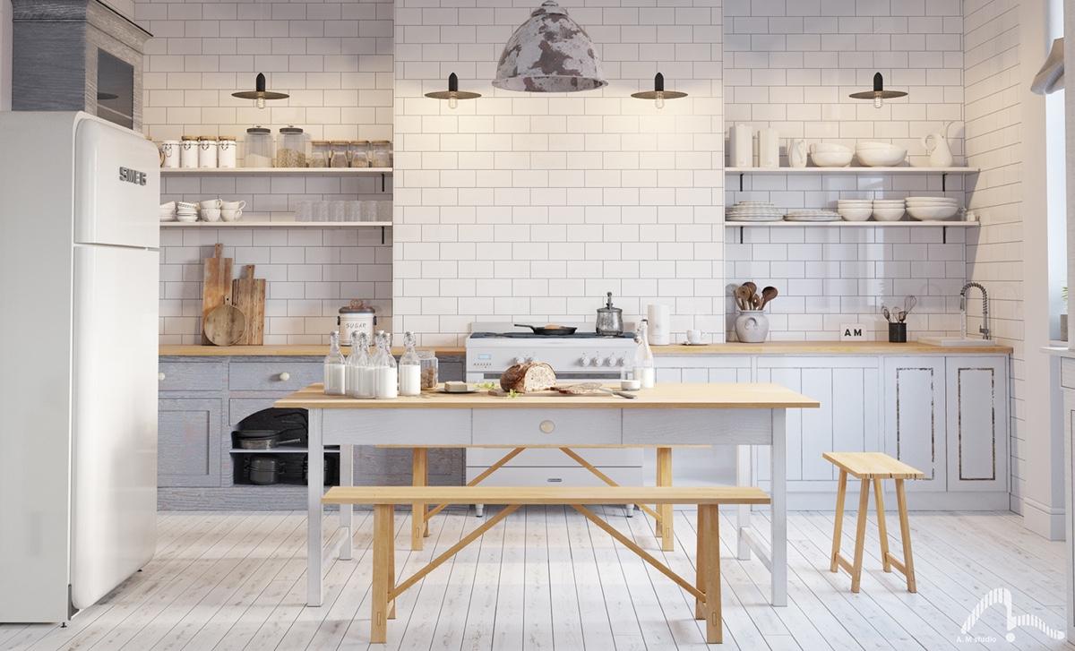 Scandinavian Kitchen Light Wood White Simple Round Features Interior Design Ideas