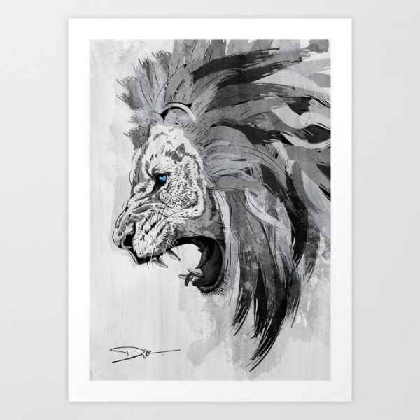Lion Face Canvas Black White Staring Portrait Wall Art Picture Home Decor