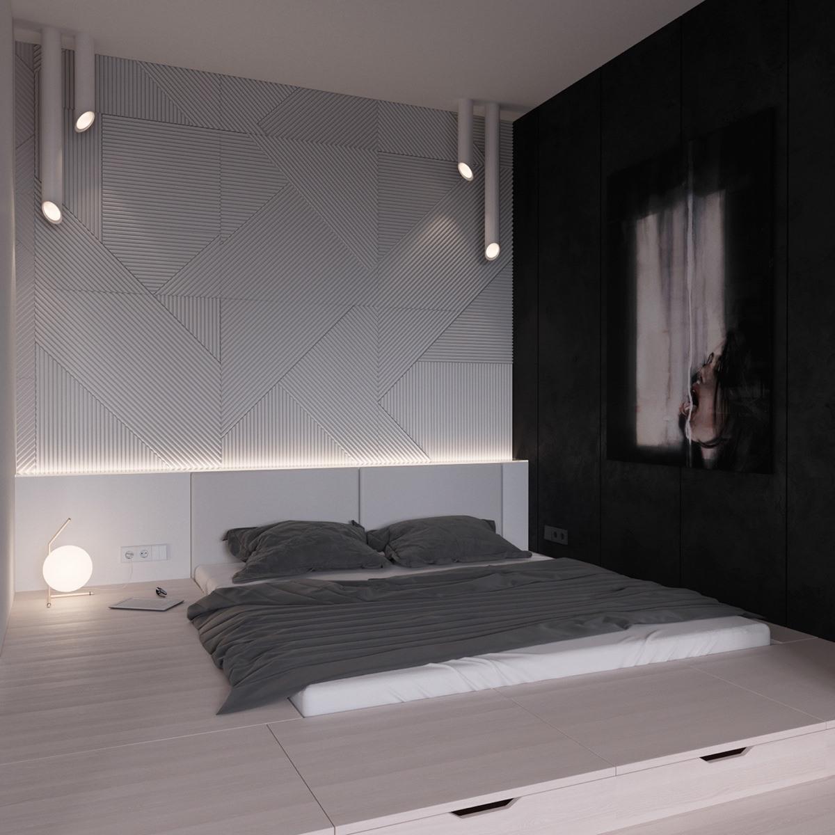 Master Bedroom Black 038 White Stunning Designs Platform Bed And