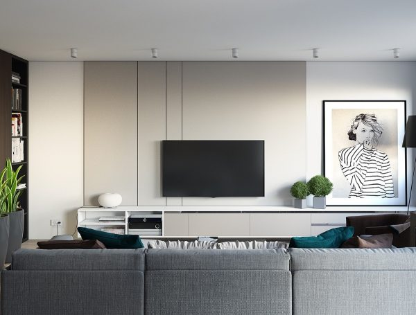 Our one bedroom apartment begins in the central room a fusion of living dining and kitchen areas designed for a young woman the tv space opens to a
