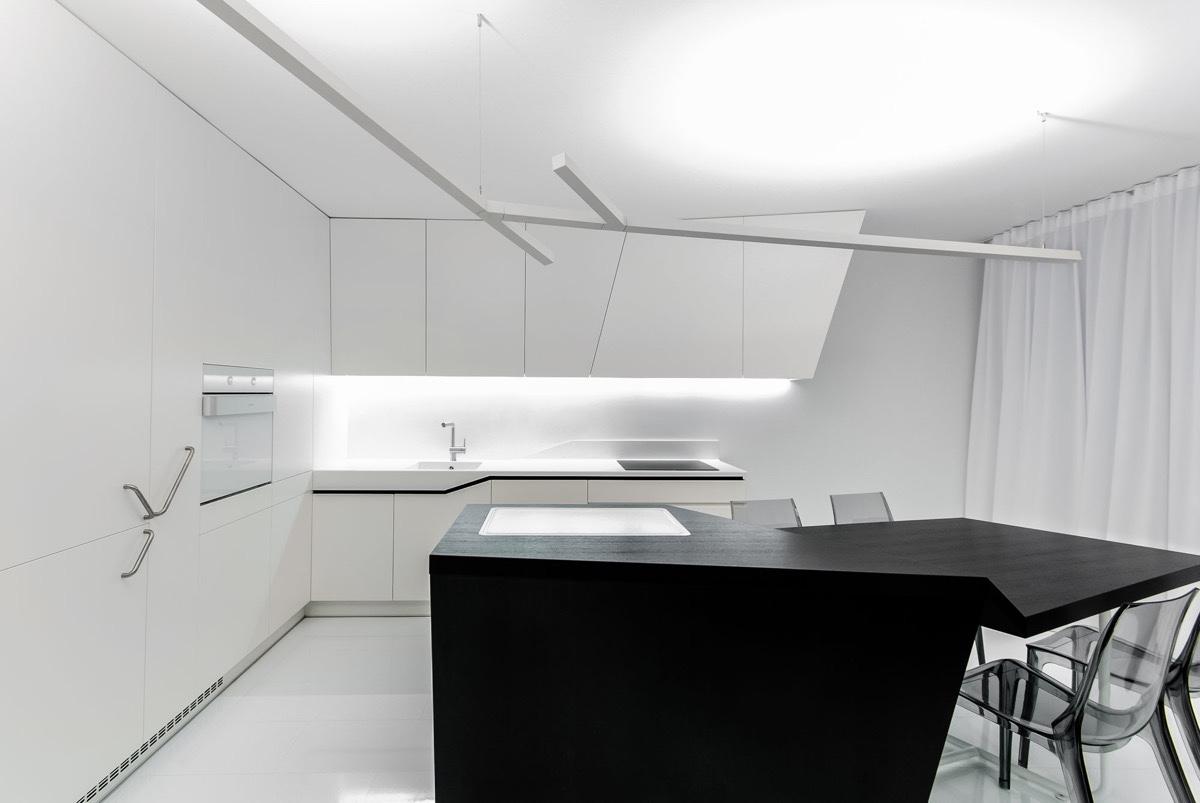 Futuristic Kitchen With Black Island Interior Design Ideas