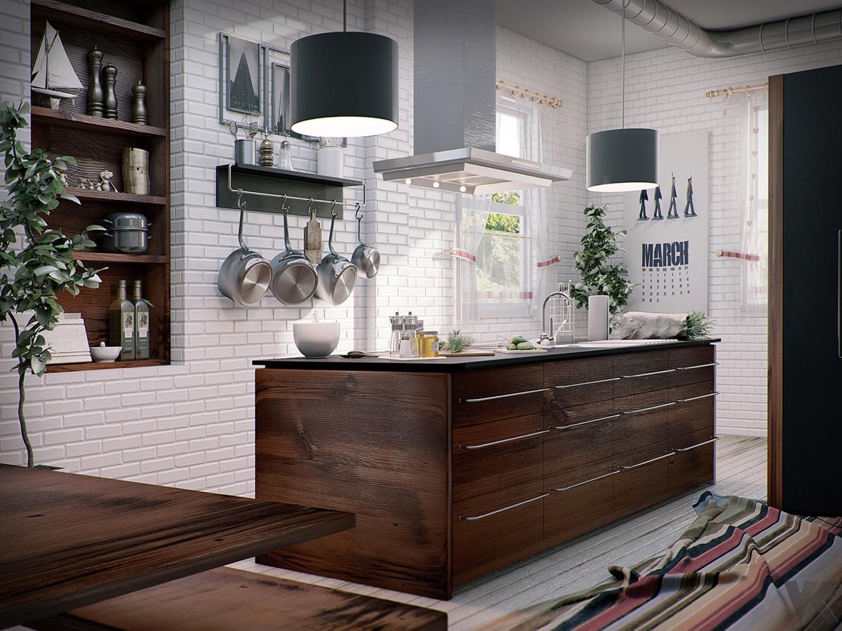 Rustic Kitchen White Exposed Brick Wooden Chests Interior Design Ideas
