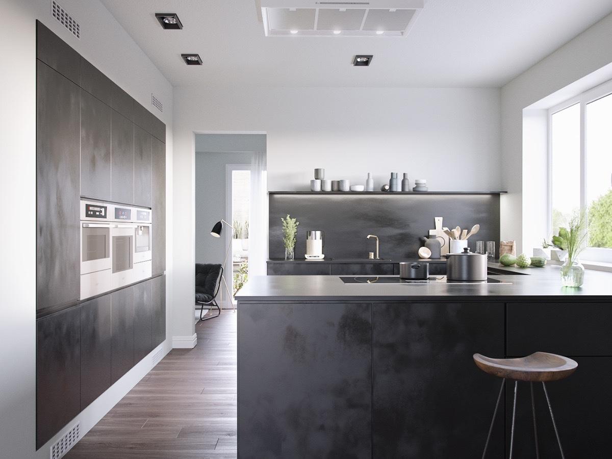 40 beautiful black white kitchen designs - Dark wood cabinets kitchen design ...