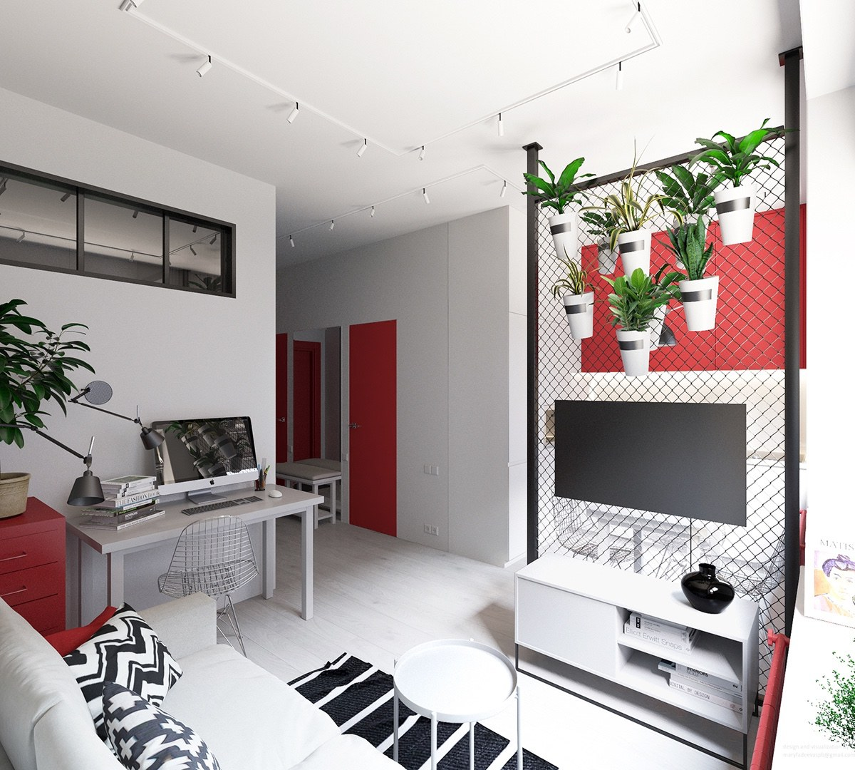 3 small apartments that rock uncommon color schemes with - Colors for small rooms ...
