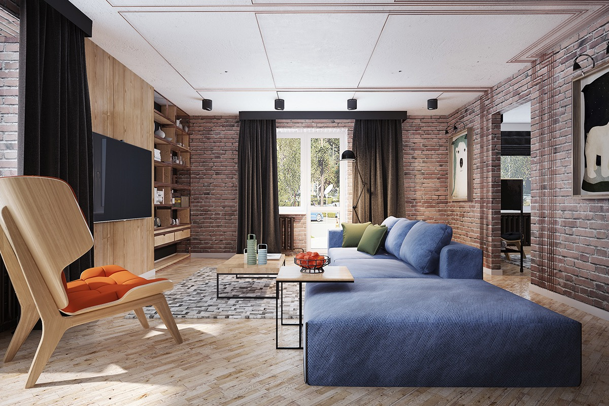 Red Living Room: Living Rooms With Exposed Brick Walls