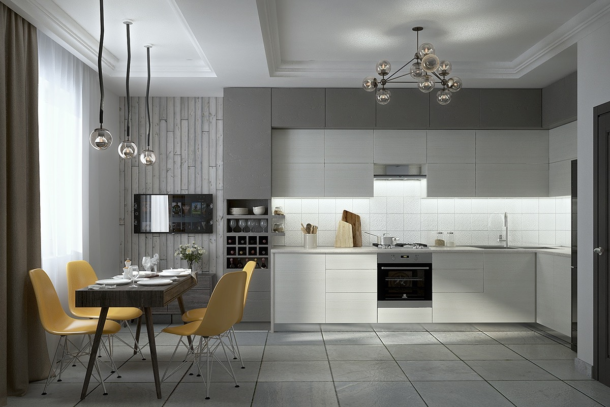 grey tiled kitchen