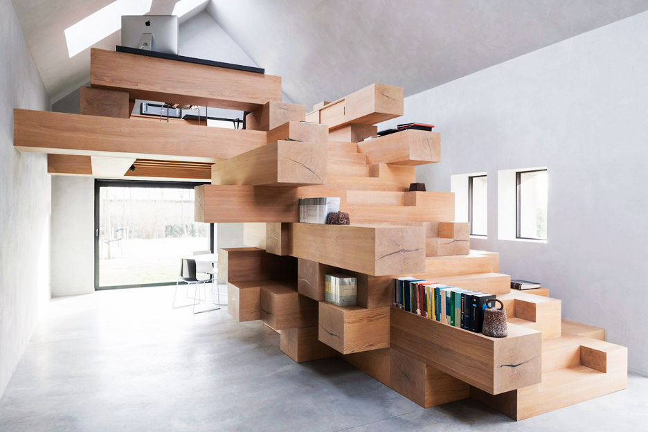 jenga style stairs with storage