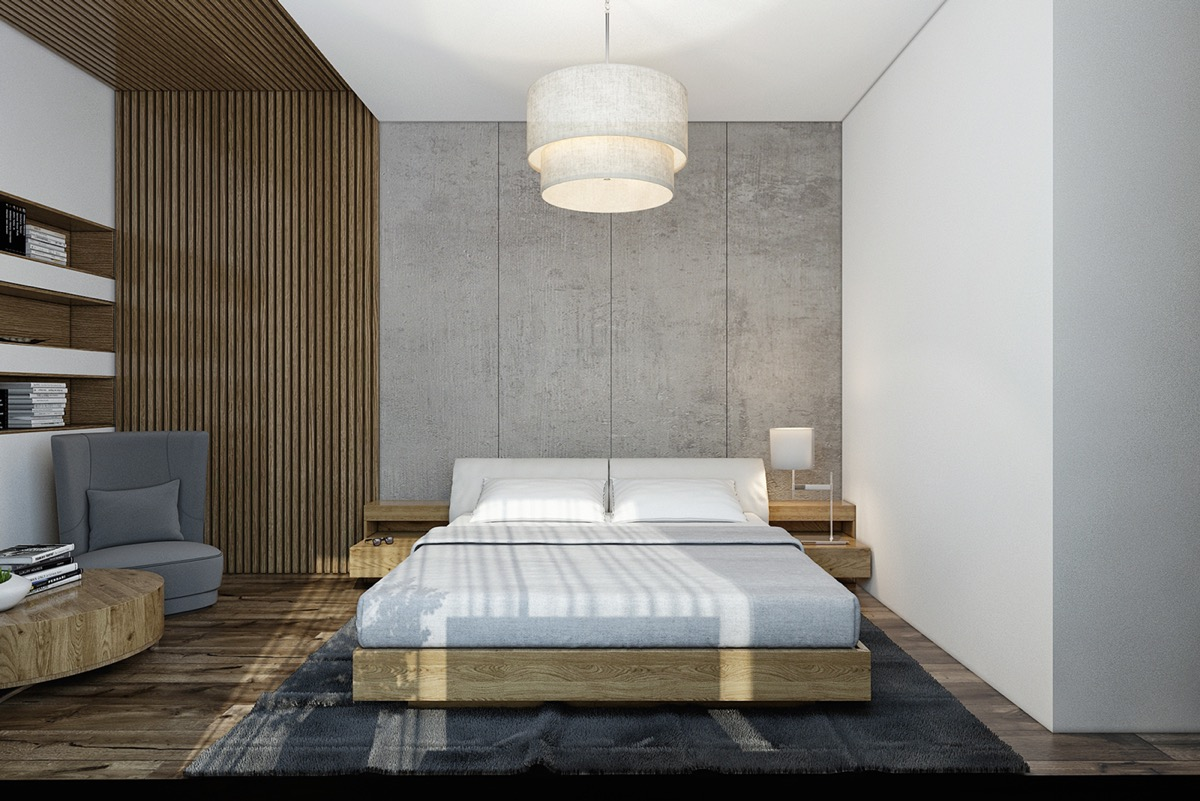 Concrete wall designs 30 striking bedrooms that use - Wall designs with wood ...