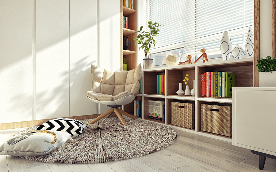 Simple reading corner beige padded wooden chair 4 first home interior ideas with a scandinavian