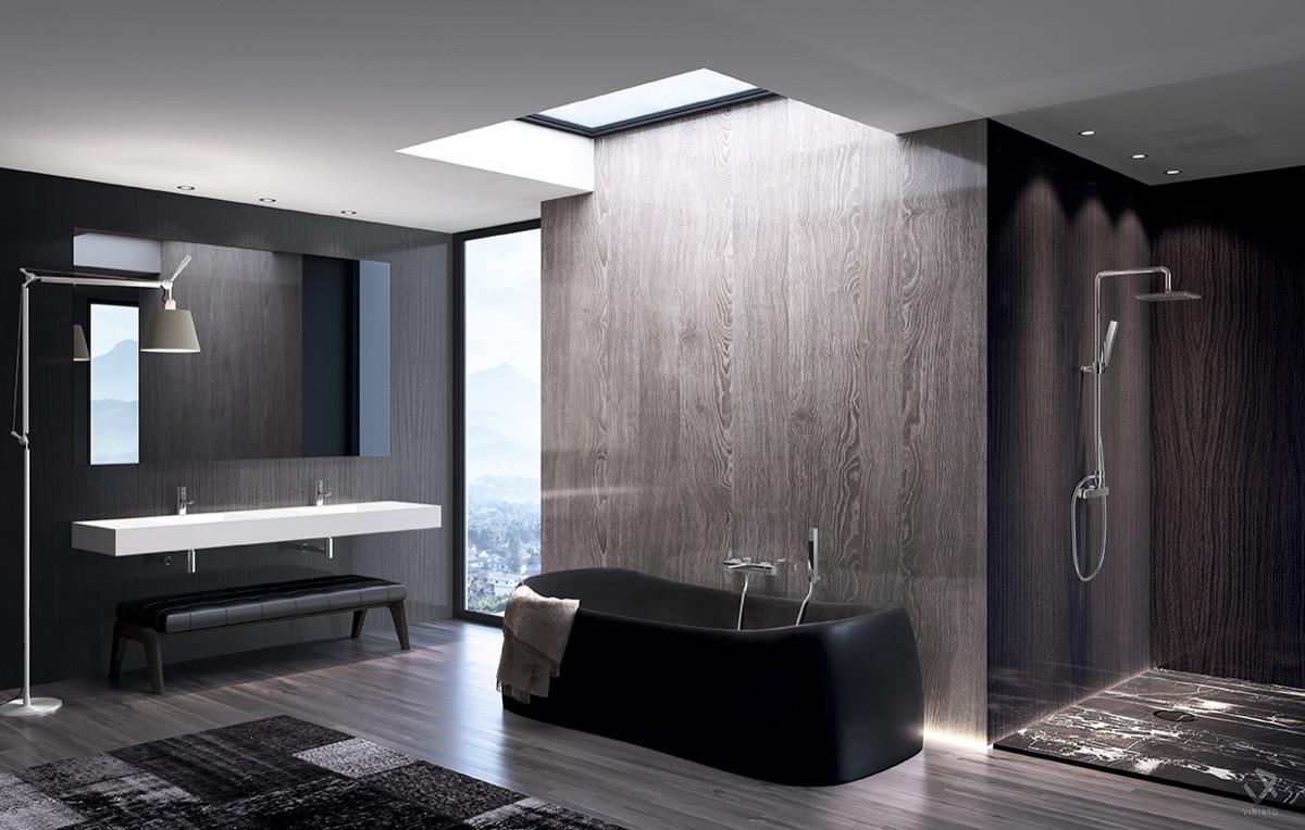 Grey and Black BathroomInterior Design Ideas.