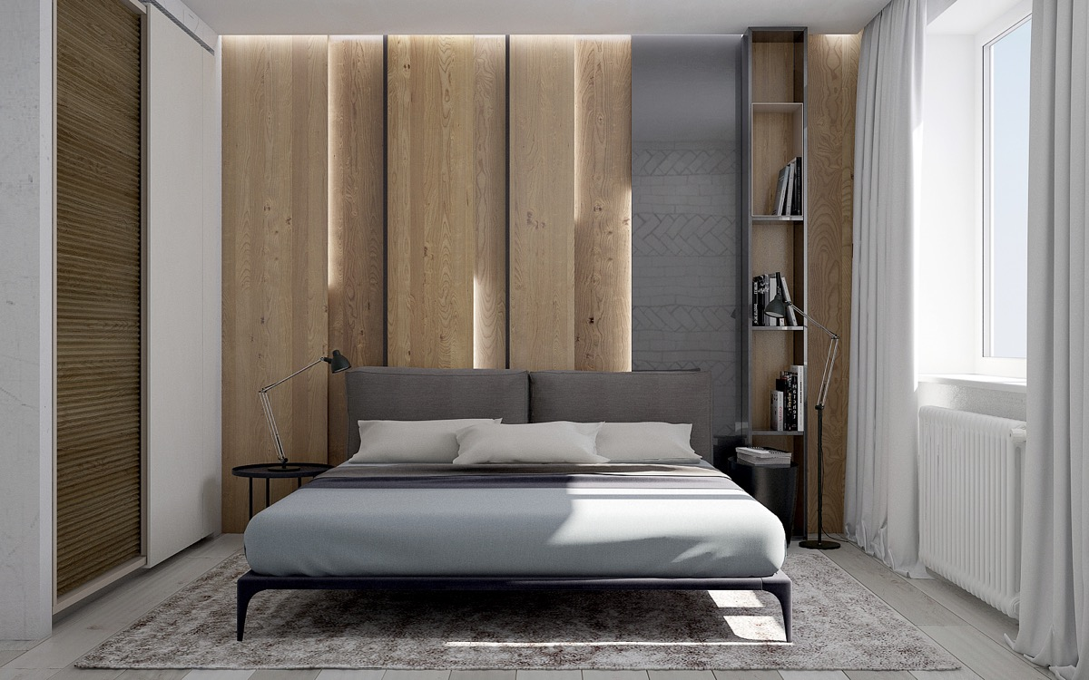 Wooden wall designs 30 striking bedrooms that use the for Parete letto design