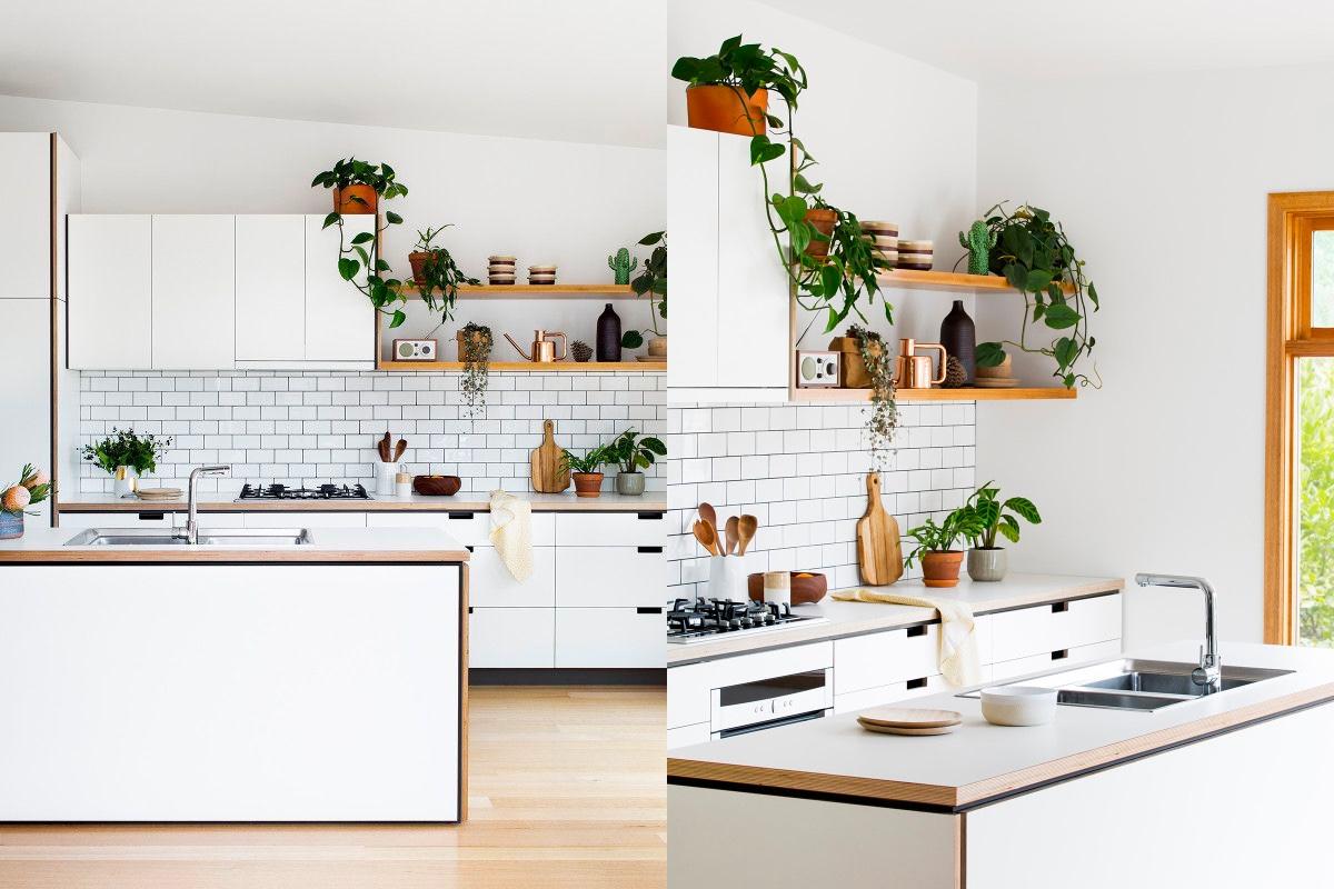 White Kitchen Light Wood Floors Interior Design Ideas
