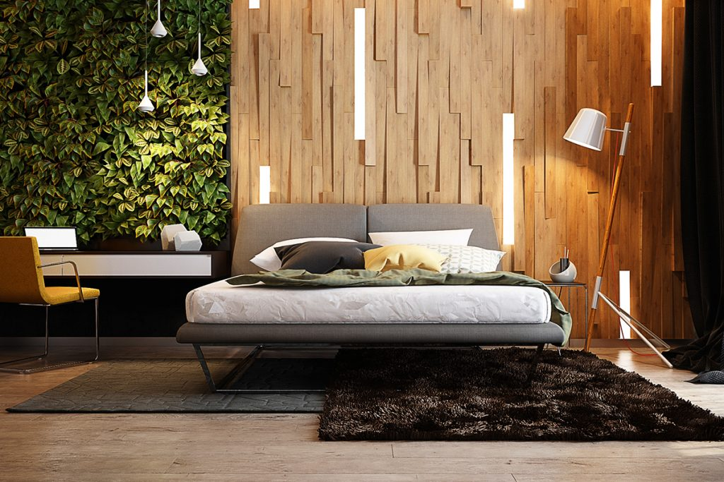 living wall bedroom wood wall design 1024x683