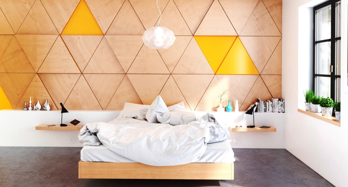 28 visualizer hamoud kabbani looking to work wood into an art deco bedroom this feature wall surprises with triangular panels