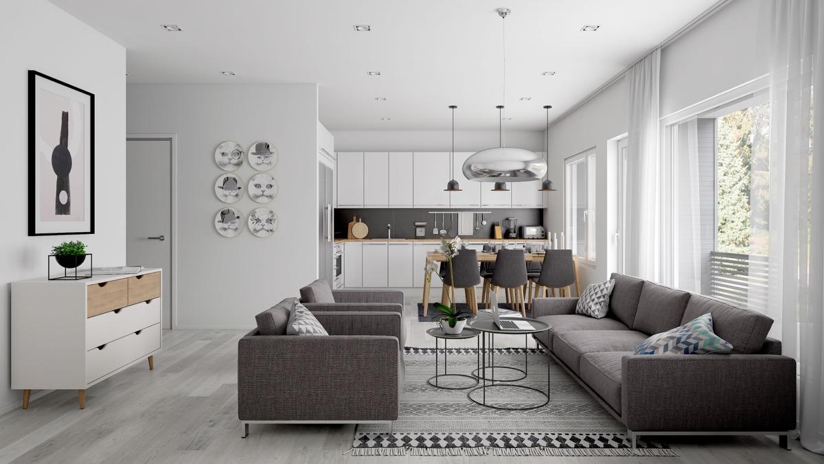 Open plan interior design inspiration for Zona living design