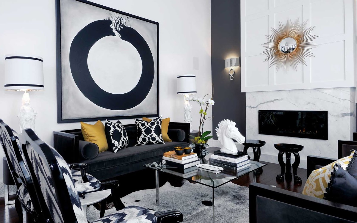 30 black white living rooms that work their monochrome magic Black white gold living room