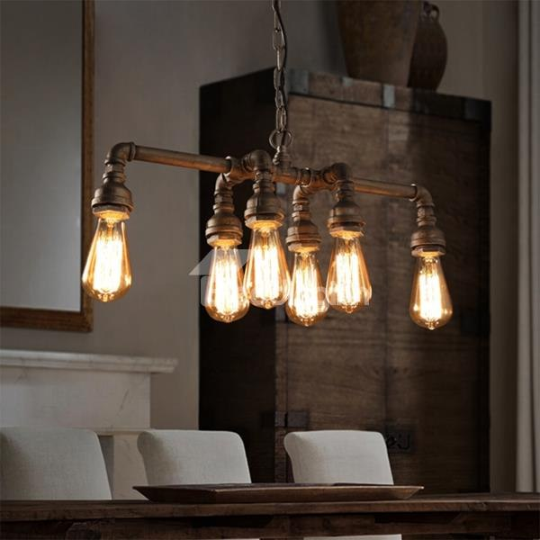 Six Light Piping Industrial Dining Room, Industrial Dining Room Lighting