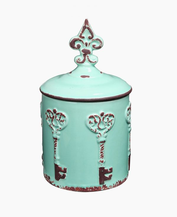 Vintage style key fleur de lis cookie jar combine french overtones with a beautiful ceramic in this jar suited for many food items
