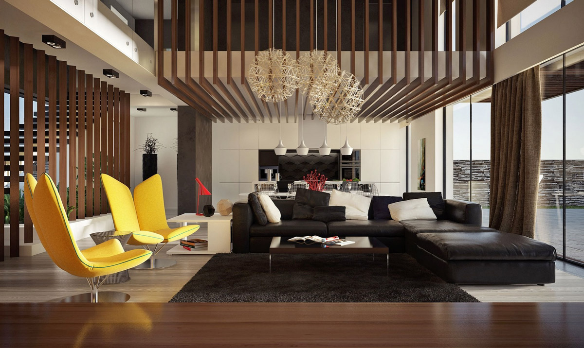 30 double height living rooms that add an air of luxury. Black Bedroom Furniture Sets. Home Design Ideas
